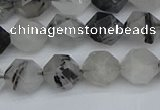 CNG7246 15.5 inches 8mm faceted nuggets black rutilated quartz beads