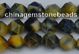CNG7311 15.5 inches 8mm faceted nuggets golden & blue tiger eye beads