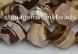 CNG7383 15.5 inches 12mm faceted nuggets zebra jasper beads