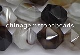 CNG7503 15.5 inches 10mm faceted nuggets line agate beads