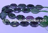 CNG7626 20*30mm - 22*32mm faceted freeform ruby zoisite beads