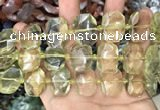 CNG7752 13*18mm - 15*25mm faceted freeform lemon quartz beads