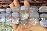 CNG7862 13*18mm - 18*25mm faceted freeform blue chalcedony beads