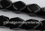 CNG836 15.5 inches 13*18mm faceted nuggets black obsidian beads