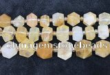 CNG8675 12*20mm - 20*33mm faceted nuggets yellow quartz beads
