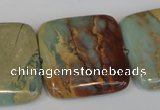 CNS196 15.5 inches 30*30mm square natural serpentine jasper beads