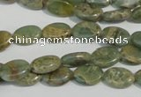 CNS240 15.5 inches 8*12mm oval natural serpentine jasper beads