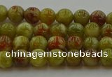 CNS601 15.5 inches 6mm round green dragon serpentine jasper beads