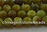 CNS602 15.5 inches 8mm round green dragon serpentine jasper beads