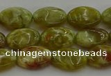 CNS631 15.5 inches 10*14mm oval green dragon serpentine jasper beads
