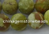 CNS655 15.5 inches 16mm round matte green dragon serpentine jasper beads