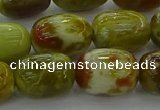CNS662 15.5 inches 10*14mm drum green dragon serpentine jasper beads
