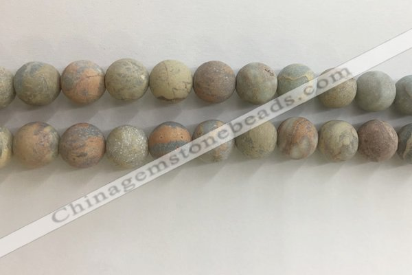 CNS710 15.5 inches 12mm round matte serpentine jasper beads