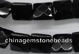 COB392 15.5 inches 14*14mm faceted square black obsidian beads