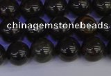 COB652 15.5 inches 8mm round gold black obsidian beads wholesale