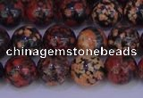COB663 15.5 inches 10mm round red snowflake obsidian beads
