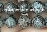 COB692 15.5 inches 8mm faceted round Chinese snowflake obsidian beads