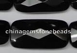 CON93 15.5 inches 20*40mm faceted rectangle black onyx gemstone beads
