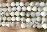 COP1668 15.5 inches 10mm faceted round white opal beads