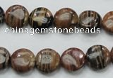COP229 15.5 inches 12mm flat round natural brown opal gemstone beads