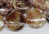 COP311 15.5 inches 20mm flat round brandy opal gemstone beads wholesale