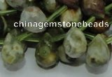 COS03 15.5 inches 10*14mm faceted teardrop ocean stone beads wholesale