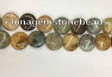 COS249 15.5 inches 25mm flat round ocean stone beads wholesale