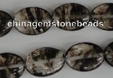 COV145 15.5 inches 13*18mm oval watermelon black beads wholesale