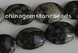 COV152 15.5 inches 15*20mm oval glaucophane beads wholesale
