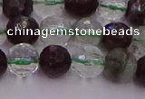 CPC11 15.5 inches 8mm faceted round green phantom quartz beads