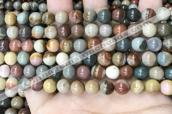 CPJ482 15.5 inches 8mm round polychrome jasper beads wholesale