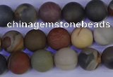 CPJ512 15.5 inches 8mm round matte polychrome jasper beads wholeasle