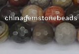 CPJ550 15.5 inches 12mm faceted round polychrome jasper beads