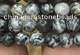 CPJ640 15.5 inches 4mm faceted round grey picture jasper beads