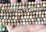 CPJ650 15.5 inches 4mm round matte picture jasper beads wholesale