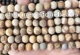 CPJ652 15.5 inches 8mm round matte picture jasper beads wholesale