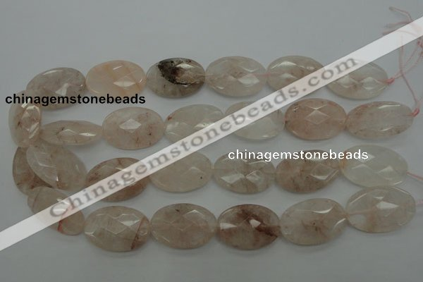 CPQ222 15.5 inches 20*30mm faceted oval natural pink quartz beads