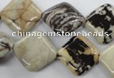 CPT08 15.5 inches 20*20mm diamond zebra picture jasper gemstone beads