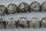 CPT115 15.5 inches 14mm faceted round grey picture jasper beads