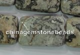 CPT131 15.5 inches 20*30mm faceted rectangle grey picture jasper beads