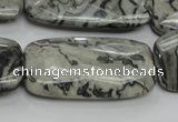 CPT132 15.5 inches 20*40mm faceted rectangle grey picture jasper beads