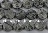 CPT140 15.5 inches 12mm faceted coin grey picture jasper beads