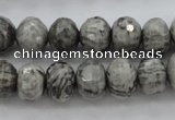 CPT196 15.5 inches 5*8mm faceted rondelle grey picture jasper beads