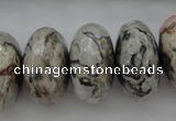 CPT197 15.5 inches 9*16mm faceted rondelle grey picture jasper beads