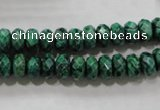 CPT222 15.5 inches 5*8mm faceted rondelle green picture jasper beads
