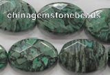 CPT241 15.5 inches 18*25mm faceted oval green picture jasper beads