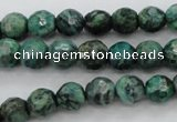CPT303 15.5 inches 6mm faceted round green picture jasper beads