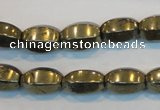 CPY144 15.5 inches 8*14mm rice pyrite gemstone beads wholesale