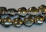 CPY162 15.5 inches 12mm carved flower pyrite gemstone beads wholesale