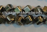 CPY361 15.5 inches 6*6mm faceted cube pyrite gemstone beads